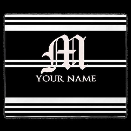 Black and White Stripe Monogram King Duvet