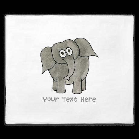 Elephant. Custom Text. King Duvet