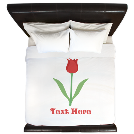 Dark Red Tulip and Text. King Duvet