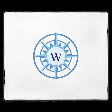 Compass, Nautical Monogram, Blue King Duvet
