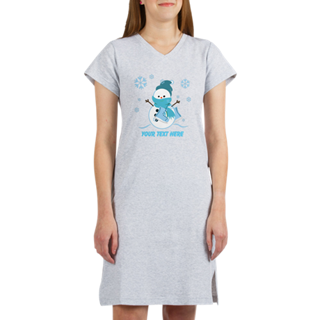 Cute Personalized Snowman Women's Nightshirt