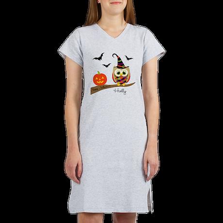 Custom name Halloween owl Women's Nightshirt
