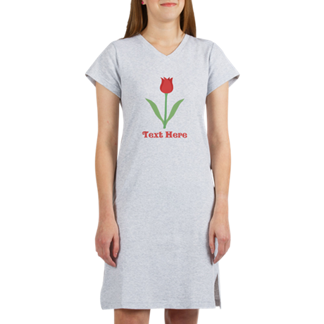 Dark Red Tulip and Text. Women's Nightshirt