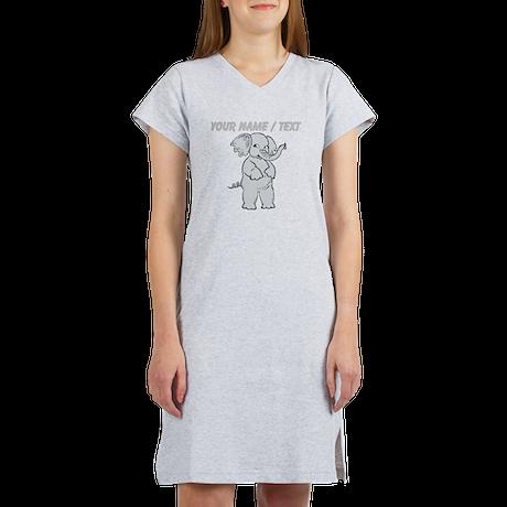 Custom Cartoon Elephant Women's Nightshirt