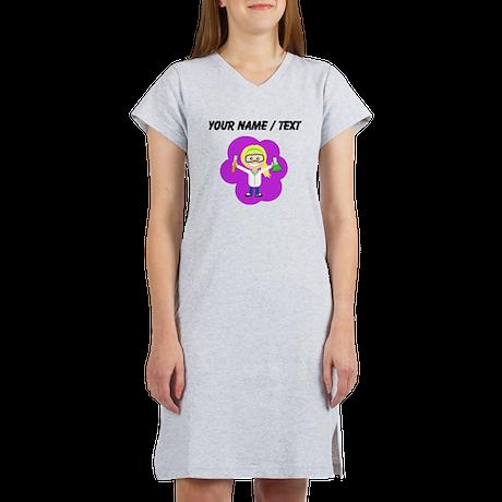 Custom Scientist Girl Ponytail Women's Nightshirt