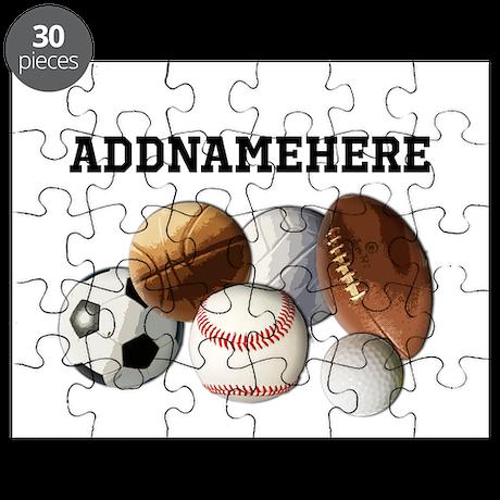 Sports Balls, Custom Name Puzzle