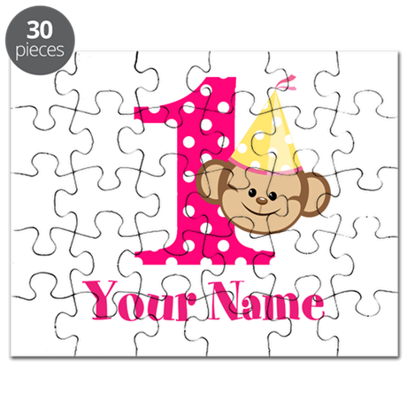 Personalizable Monkey Girl First Birthday Puzzle