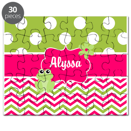 Pink Green Chevron Frog Personalized Puzzle