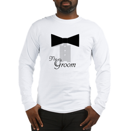 The Groom Black Tie Tuxedo Wedding Long Sleeve T-S