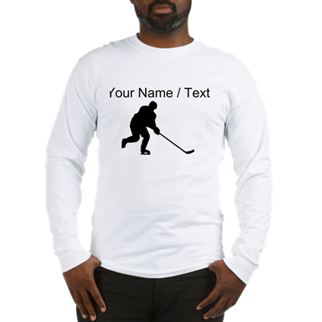 Custom Hockey Player Silhouette Long Sleeve T-Shir