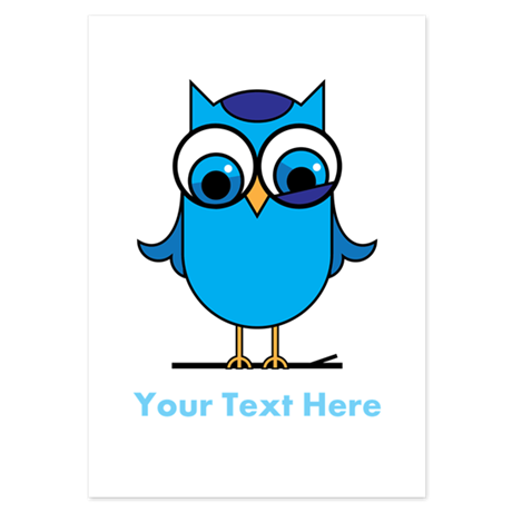 Personalized Blue Owl 3.5 x 5 Flat Cards