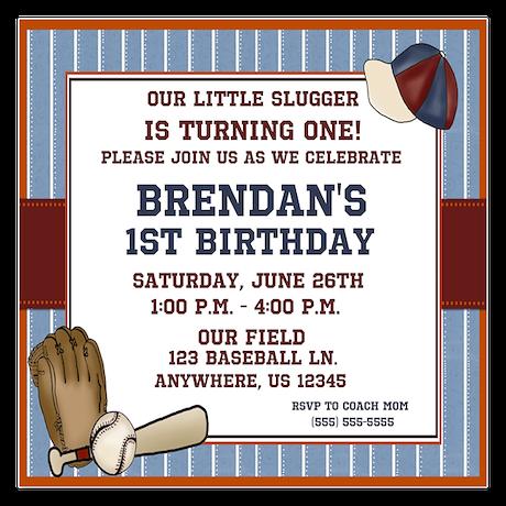 Baseball Boys Birthday Invitation 5.25 x 5.25 Flat