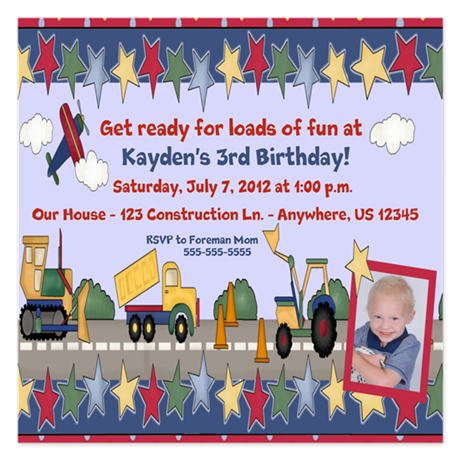 Construction Kids Birthday Invitation 5.25 x 5.25