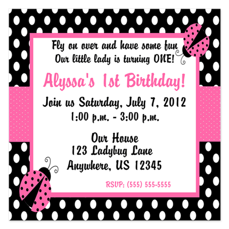 Ladybug Pink Invitation 5.25 x 5.25 Flat Cards