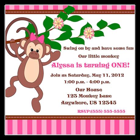 Monkey Pink Girl Invitation 5.25 x 5.25 Flat Cards
