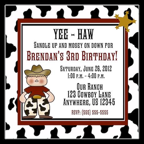 Cowboy Boys Birthday Invitation 5.25 x 5.25 Flat C
