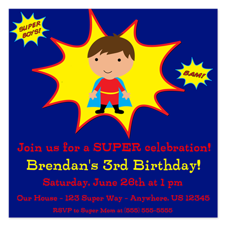 Super Kids Invitation 5.25 x 5.25 Flat Cards