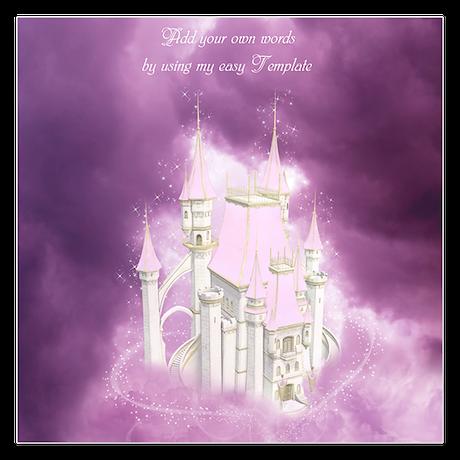 Pink Fairytale Castle 5.25 x 5.25 Flat Cards