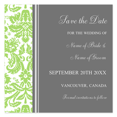 Green Damask Save the Date 5.25 x 5.25 Flat Cards