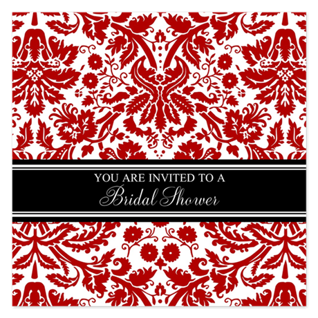 Red Damask Bridal Shower 5.25 x 5.25 Flat Cards