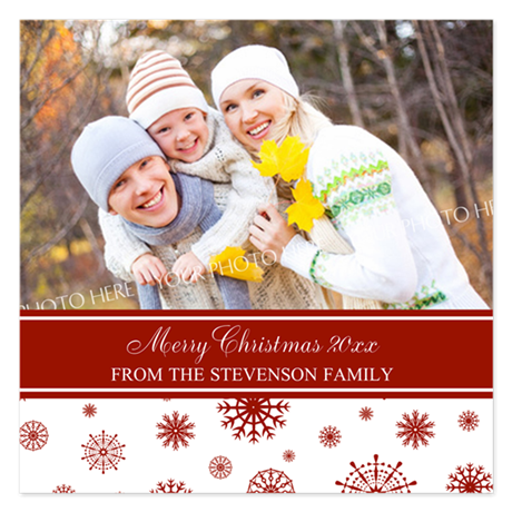 Red White Family Christmas 5.25 x 5.25 Flat Cards