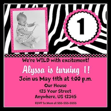 Pink Zebra Birthday Invite Invitations