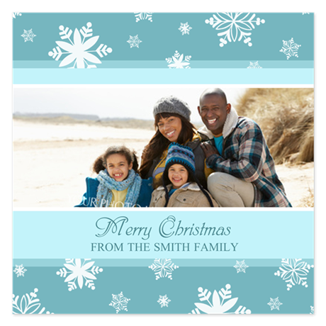 Blue Snow Christmas Photo 5.25 x 5.25 Flat Cards