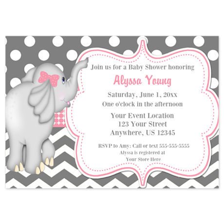 Gray Pink Elephant Baby Shower Invite Invitations