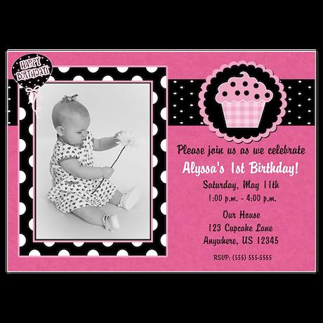 Pink Cupcake Birthday Invitation 5x7 Flat Cards