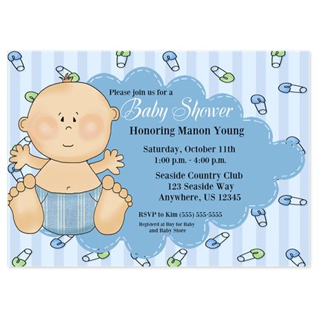 Baby Boy Shower Invitation 5x7 Flat Cards
