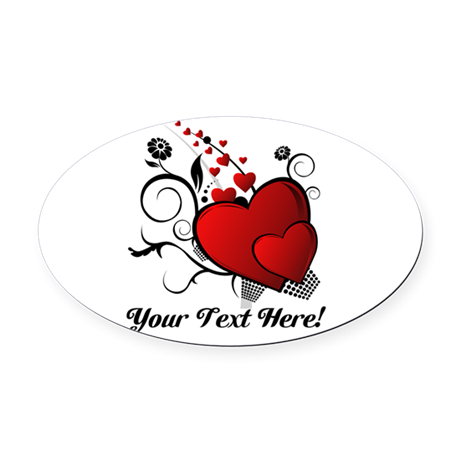 Personalized Red/Black Hearts Oval Car Magnet