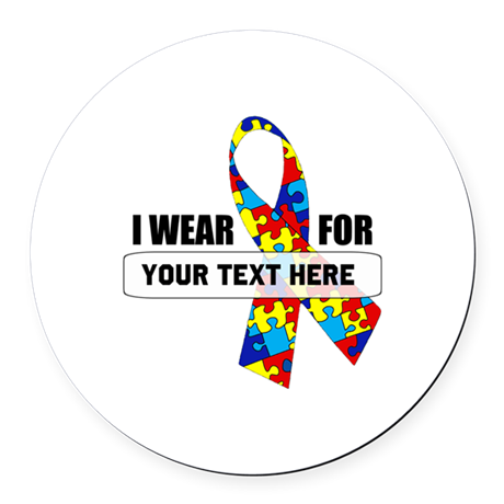 Ribbon for... Personalizable! Round Car Magnet