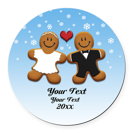 Personalize Gingerbread Bride and Groom Round Car