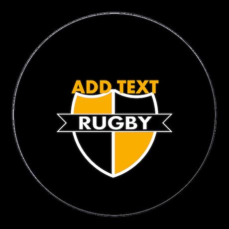 Rugby Crest Black Gold blkpz Round Car Magnet