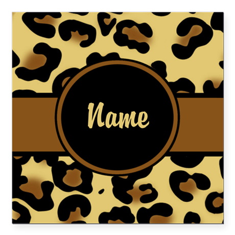 "Leopard Print Personalized Square Car Magnet 3"" x"
