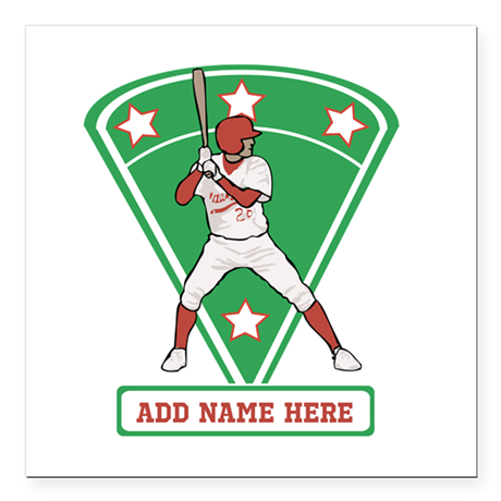 Personalized Red Baseball star player Square Car M