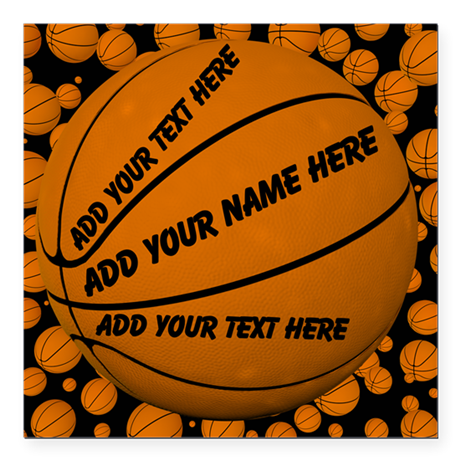 "Basketball Square Car Magnet 3"" x 3"""