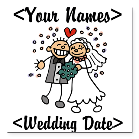 Just Married (Add Names & Wedding Date) Square Car