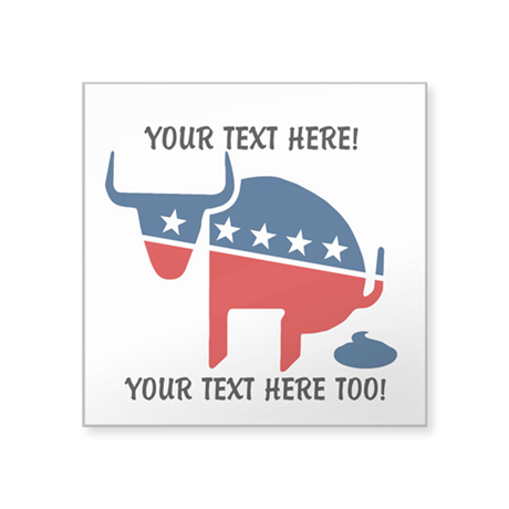 "Political BS Personalized Square Sticker 3"" x 3"""