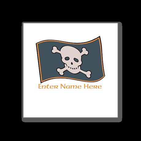 "Personalized Pirate Flag Square Sticker 3"" x 3"""