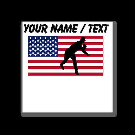 Custom Baseball Pitcher American Flag Sticker