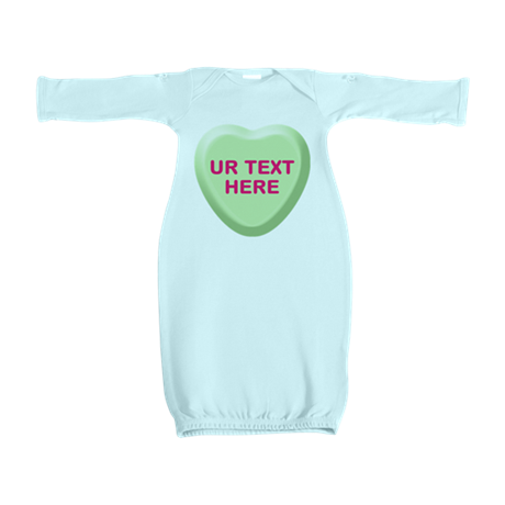 Lime Candy Heart Personalized Baby Gown