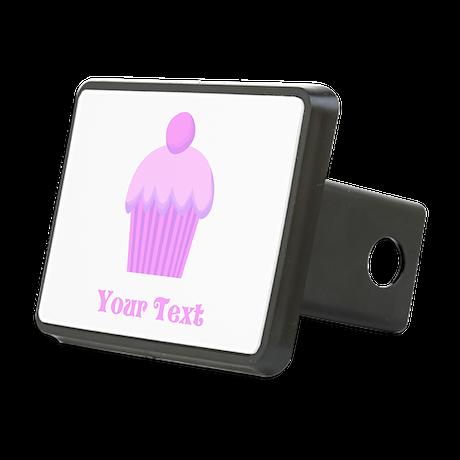 Pink cupcake with Custom Text Rectangular Hitch Co