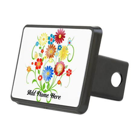 Personalized floral light Rectangular Hitch Cover