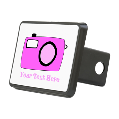 Pink Camera and Custom Text. Rectangular Hitch Cov
