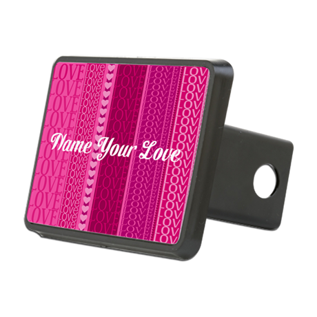 Name Your Love Pink Hearts Rectangular Hitch Cover