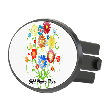 Personalized floral light Oval Hitch Cover
