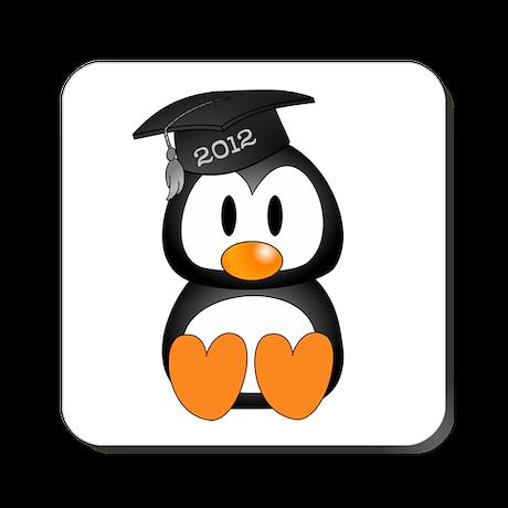Custom Gradution Penguin Square Coaster
