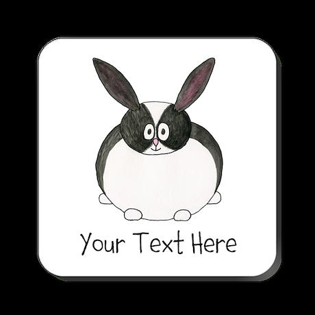 Dutch Rabbit. Custom Text. Square Coaster