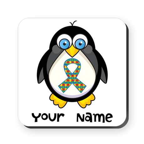 Personalized Autism Penguin Square Coaster